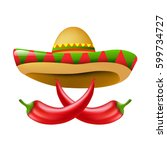 mexican chili pepper with... | Shutterstock .eps vector #599734727