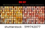 vector big set of 100 gold and... | Shutterstock .eps vector #599742077