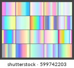 set of vector 20 holographic... | Shutterstock .eps vector #599742203