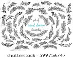 set of hand drawn floral... | Shutterstock .eps vector #599756747