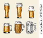 set of icons of full glass of... | Shutterstock . vector #599764763