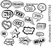 vector hand drawn doodle set of ... | Shutterstock .eps vector #599770763