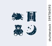 bed time icons. sleep and rest... | Shutterstock .eps vector #599784593