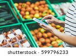 young woman shopping healthy... | Shutterstock . vector #599796233