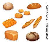 set of cartoon bread   rye ... | Shutterstock .eps vector #599798897
