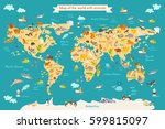 map animal for kid. continent... | Shutterstock .eps vector #599815097
