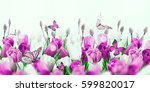 multi colored tulips with... | Shutterstock . vector #599820017
