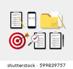 survey  checklist and folder... | Shutterstock .eps vector #599839757
