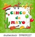 cinco de mayo greeting card ... | Shutterstock .eps vector #599859227