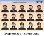 set of catholic priest... | Shutterstock .eps vector #599862053