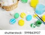 close up of colorful easter... | Shutterstock . vector #599863937