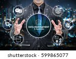 Small photo of Data management platform and future marketing concept. Man business suit hand , Electric circuit graphic and info graphic of dmp technology icons.