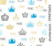 little prince seamless pattern...   Shutterstock .eps vector #599870603