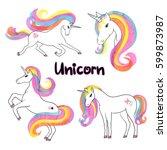 beautiful rainbow watercolor... | Shutterstock .eps vector #599873987