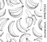 banana vector seamless pattern. ... | Shutterstock .eps vector #599875523