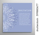 invitation or card with lace... | Shutterstock .eps vector #599883677