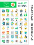 set of modern flat round icons... | Shutterstock .eps vector #599888483