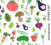 veggie food seamless pattern | Shutterstock .eps vector #599891387