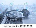 double exposure social network...   Shutterstock . vector #599927927