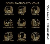 south america city icons. vector | Shutterstock .eps vector #599954927