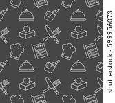 restaurant seamless pattern... | Shutterstock .eps vector #599956073