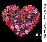 heart of flowers. sakura heart... | Shutterstock .eps vector #599956403