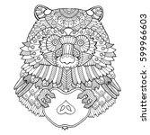 raccoon coloring book vector... | Shutterstock .eps vector #599966603