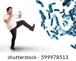 attack of bacteria. 3d rendering | Shutterstock . vector #599978513