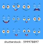 flat funny cartoon faces with... | Shutterstock .eps vector #599978897