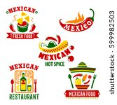 mexican restaurant or cafe bar... | Shutterstock .eps vector #599982503
