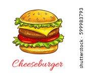 cheeseburger vector icon for...   Shutterstock .eps vector #599983793