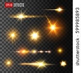 stars and gold flashes light... | Shutterstock .eps vector #599985893