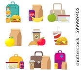 school lunch food boxes and... | Shutterstock .eps vector #599989403