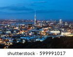 twilight over auckland central... | Shutterstock . vector #599991017