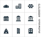 set of 9 simple architecture... | Shutterstock . vector #600007373