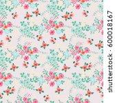 vintage feedsack pattern in... | Shutterstock .eps vector #600018167