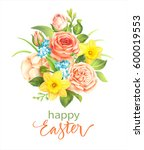 easter greeting card with... | Shutterstock .eps vector #600019553