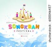 songkran festival of thailand... | Shutterstock .eps vector #600046457