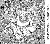 hindu lord ganesha over ornate... | Shutterstock .eps vector #600058073