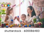 a mother and her daughter are... | Shutterstock . vector #600086483