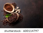 coffee beans and ground powder... | Shutterstock . vector #600114797