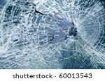 Постер, плакат: Close up broken car windshield