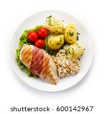 grilled chicken fillet with... | Shutterstock . vector #600142967
