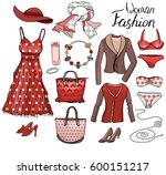 pack with woman dresses shoes... | Shutterstock .eps vector #600151217