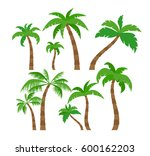 palm trees set in flat style ... | Shutterstock .eps vector #600162203