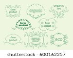 green floral labels for natural ... | Shutterstock .eps vector #600162257