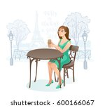 girl in street cafe. young... | Shutterstock .eps vector #600166067