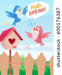 cute birds couple flying. boy... | Shutterstock .eps vector #600176387