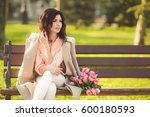 young serious brunette woman in ...   Shutterstock . vector #600180593