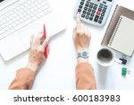 businesswoman with computer... | Shutterstock . vector #600183983